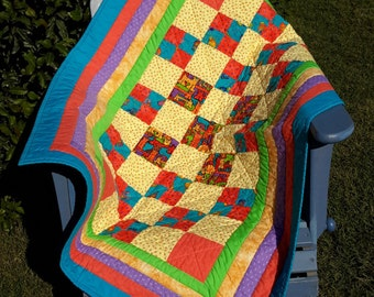 Bright Patchwork Baby Quilt
