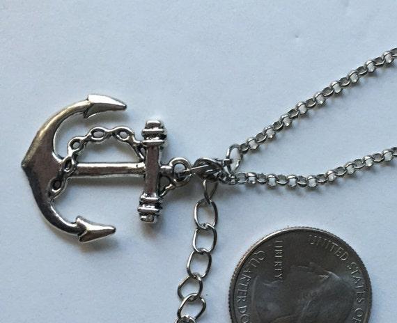 Anchor Silver Necklace with Antique Silver Anchor Charm