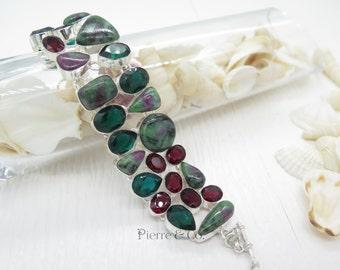 Ruby Zoisite Garnet and Emerald Quartz Sterling Silver Bracelet