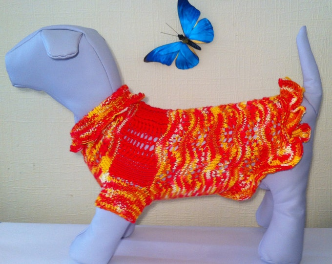 Knit Demi-Season Spring Summer Microfiber Dress for Dog. Handmade Knit Pet Summer Dress Size L.