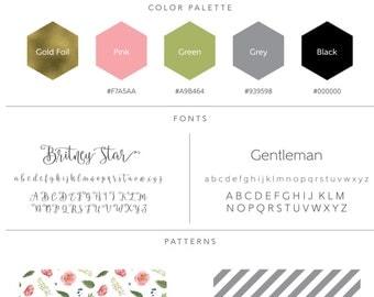 "Premade Branding Kit - ""Charlotte"", Logo Design, Watercolor Logo, Floral Logo, Photography Logo, Gold Logo, Feminine Logo - #0003"