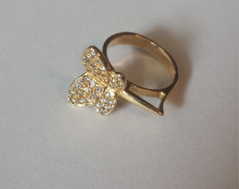 18K Yellow Gold Butterfly Ring