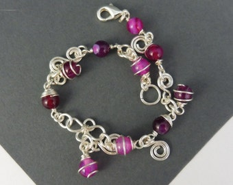 "Bracelet with Pink and Purple Agate Beads - ""Pinkie Pie"""