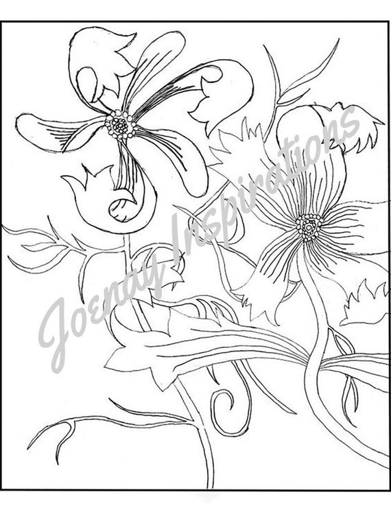 Adult Coloring Book, Printable Coloring Pages, Coloring Pages, Coloring Book for Adults, Instant Download, Fancy Flowers 2 page 2