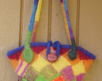 Knitted and Felted Entrelac Bag