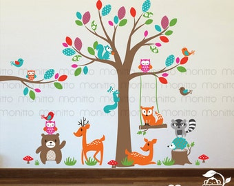 Kids Room, Decal, Nursery, Stickers,Wallpaper,Woodland,Tree,Branch, Whimsical,Animals,Bear,Deer,Fox,Hedgehog,Owls,Birds,Wall Decal [MT023]