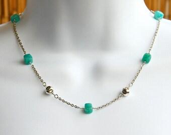 Amazonite Sterling Silver necklace, Aqua Amazonite necklace, Amazonite beads necklace