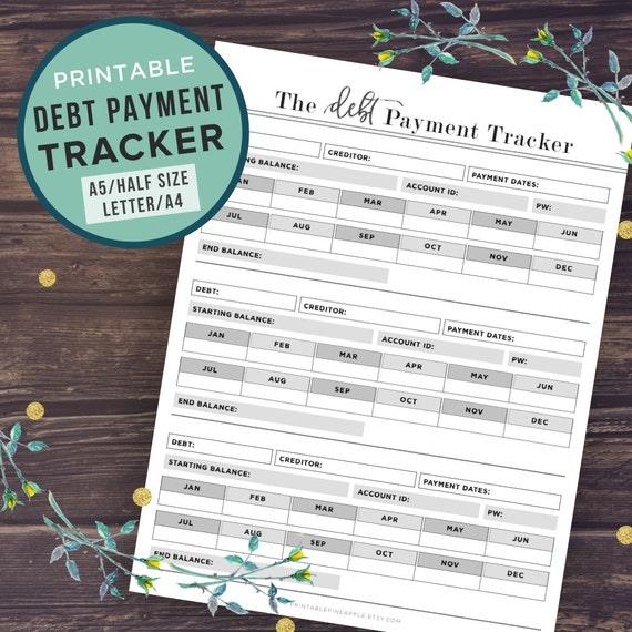 Debt Tracker Printable Debt Snowball Finance Planner
