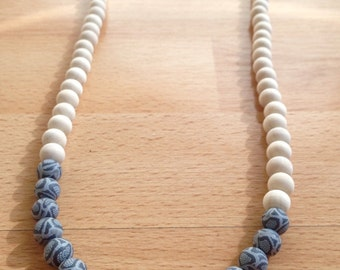 Grey polymer clay and natural wood bead necklace