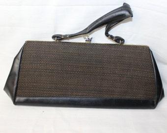 Vintage 1950s black leather brown tweed purse 259