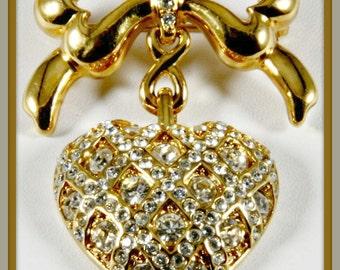 Vintage Monet Heart Brooch,Vintage Heart Brooch,Vintage Monet Heart Pin,Vintage Heart Pin,Vintage Rhinestone Heart Brooch,Vintage Rhinestone