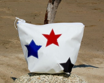 Sunblock Bag -Red and Blue Stars - Made from Recycled Sail