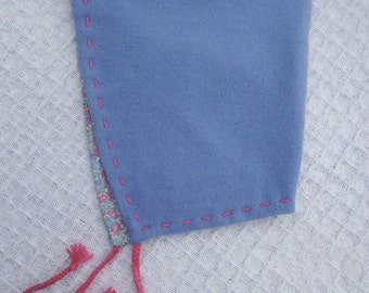 Girls' Soft Blue Wool Pixie Hat, with ties