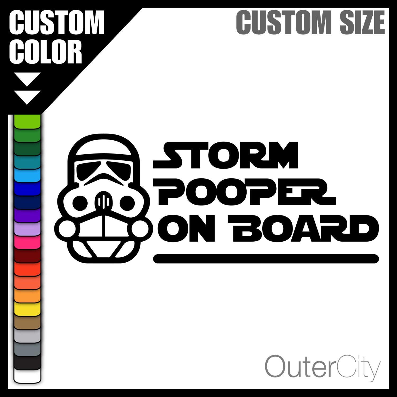 STORM POOPER On Board Decal Custom Vinyl Color Sticker - Vinyl decal custom