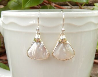 Mother of Pearl Earrings Fan Triangle Shell Matching Pair - Free Shipping Jewelry