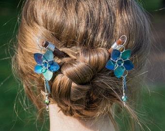 Blue Titanium Scale Flower Hair Sticks