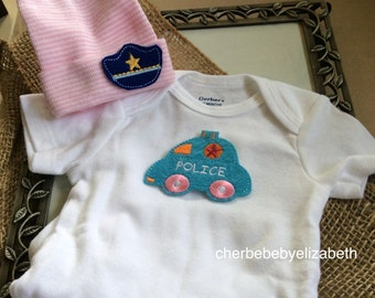 Police Coming home outfit!  Pink and white striped hospital hat with police hat for a newborn girl, police car onesie, free gift wrap,
