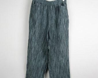 Vintage Linen Pants / 90s Blue Gray Grey Striped Ikat Print Cropped Wide Leg Trousers / Medium M