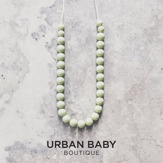 Parker Sage Silicone Bead Teething Necklace - Sage Green Necklace, Chewable Necklaces, Hexagon Teething Necklaces, BPA Free Jewellery
