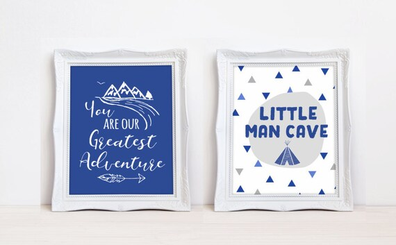Lil Man Cave Ideas : Navy blue boy nursery prints little man cave you are our