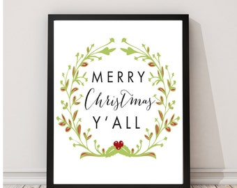 Merry Christmas Y'all Wall Art Print Decor Holiday