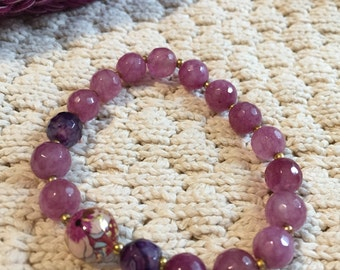 Amethyst bracelet with painted bead