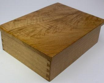 Crotch Cut Feather Top Jewelry Box, Keepsake Box, Treasure Box, or Presentation Box made from White Oak