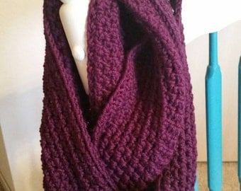 Handmade, crocheted cowl scarf in grape / plum color