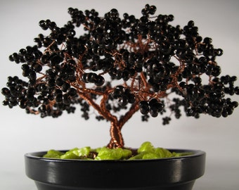Handmade beaded wire olive tree