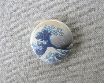 "The Great Wave Off Kanagawa Hokusai 1"" pinback button"
