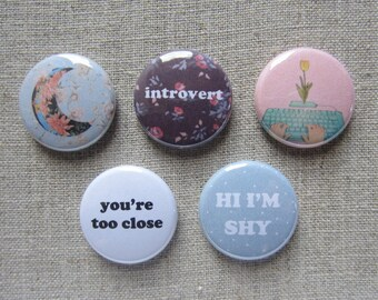 "Introvert 5 Pack 1"" pinback button badge set"