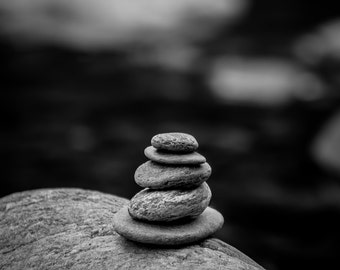 Nature Photography, Cairn at Warren Falls, Warren, Vermont, Black and White, Matted on White
