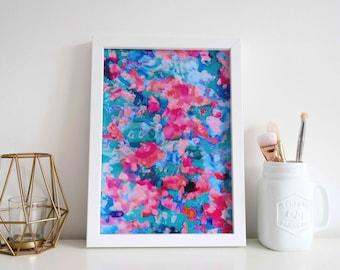 Abstract Art Print, Colourful A4 Abstract Art Print Wall Art Print of an Original Watercolour Painting, Colourful Wall Art, Unframed Print