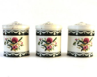 Set of 3 Vintage Floral Tins, Flowers. Floral tin Storage, Tin with flowers, Retro Storage, Tin Canisters. #649G2EEK8