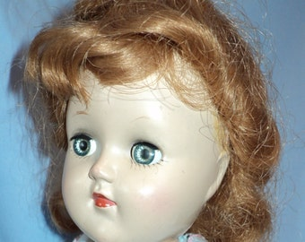 Ideal P 90 Toni walking doll with red hair redressed in 1950s style
