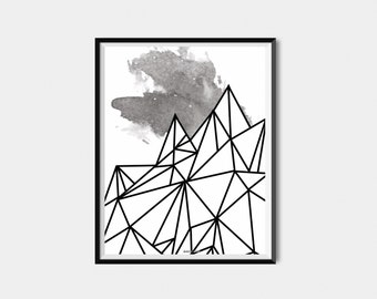 Geometric Mountain Printable - Instant Download - Mountain Poster - Black and White - Minimalist - Night Sky