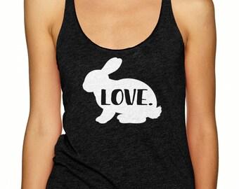 Rabbit Shirt - Love - Women's Racerback Tank T-Shirt - Bunny Gift for Her