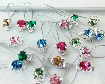 Tiny Small colourful rhinestone non snag stitch markers - set of 20 snag-free colorful knitting stitch markers
