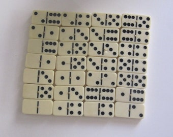 Domino Game Set, Illustrared with Pretty Rare Red Flowers