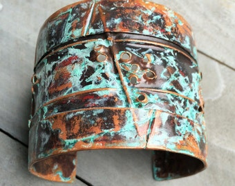 Copper Cuff Bracelet - rustic metalsmith natural distressed wide earthy fold formed turquoise patina jewelry
