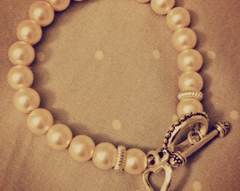 Glass Pearl Bracelet with Heart Charm