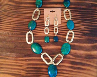 Azurite and Gold Necklace and Earring Set