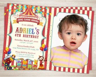 Circus Birthday Invitation. Circus Invitation. Photo Birthday Invitation. Printable Circus Themed Party 4th Birthday Party Invitation