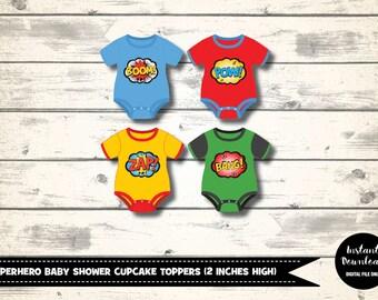 Baby Superhero Cupcake Topper, Baby Shower Decoration, Party Decoration, Superhero Cake Topper Printables, Babies Superheroes Onesie Decor