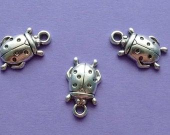10 Ladybug Charms Silver - CS3018