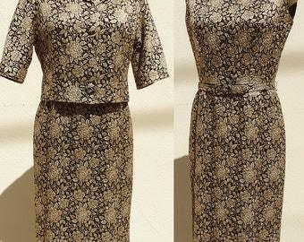 Vintage 1950s-60s Metallic Brocade Pencil Dress Suit & Jacket w/belt Gold/Black Small US 6
