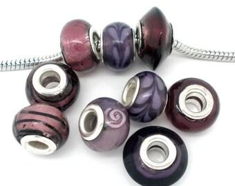20 Piece Mixed Purple Glass Lampwork Beads Fits Popular Charm Bracelet 14mm x 10mm Wholesale Lot European Beads Violet Light Dark Purple