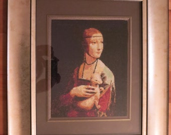 Cross Stitch Embroidery - Lady with an Ermine (framed)