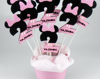Felt Minnie Mouse Second Birthday Centerpieces On a Stick - Pink Consept (6pcs)