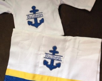 Anchor Burp Cloth and Onesie